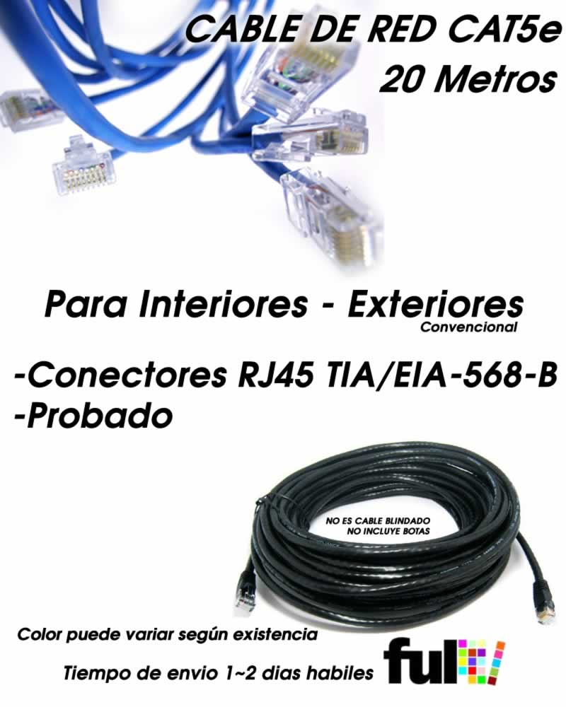 Pak 2 20 metros cable utp cat5 de red exterior con for Cable ethernet 20 metros