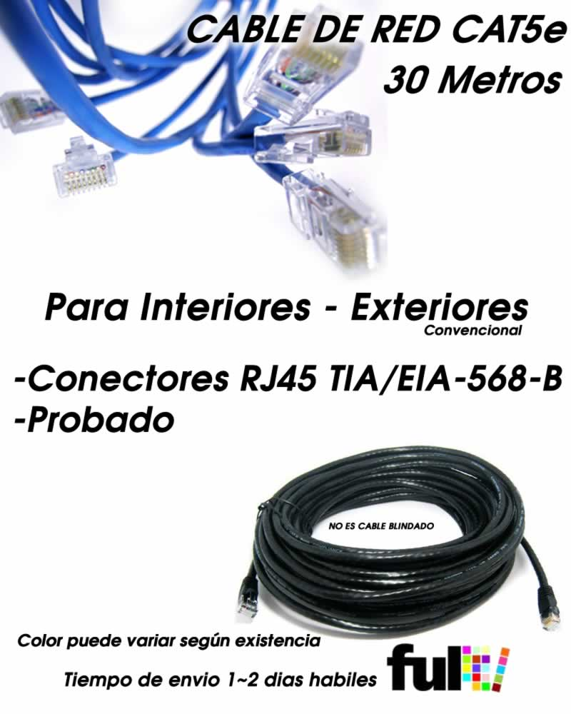 Cable de Red UTP CAT5e Exteriores 30 Metros