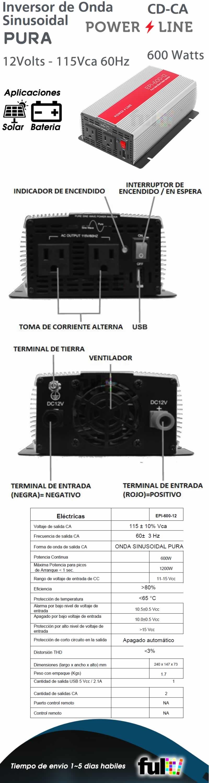 Inversor de Corriente Onda Pura 600W, ent:12V, sal:115Vca 60 Hz