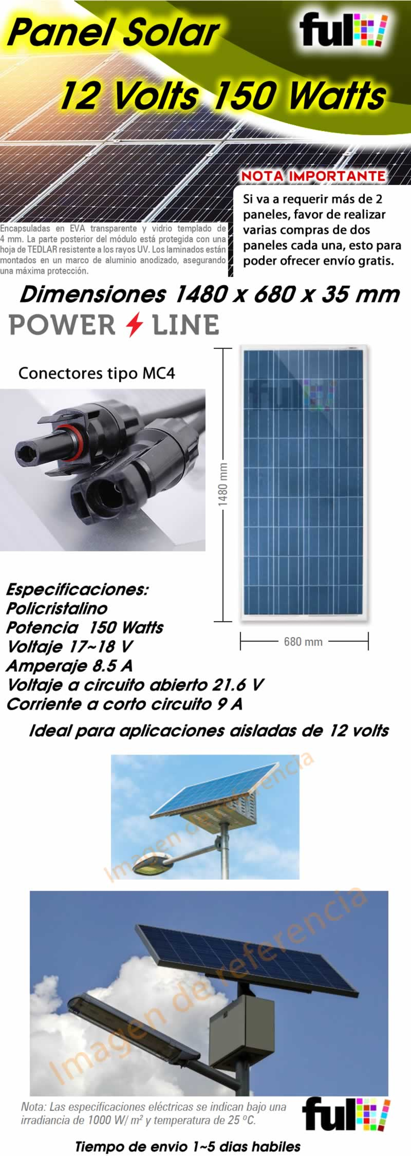Celda Solar 12 Volts 150 Watts